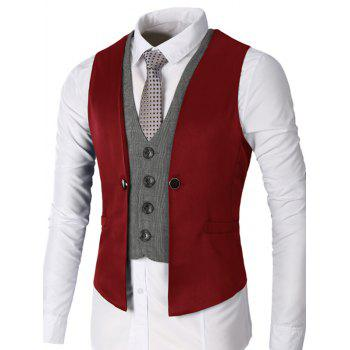 Two Tone Single Breasted Faux Twinset Waistcoat - WINE RED WINE RED