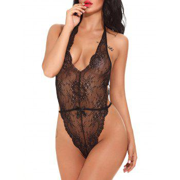 Halter See Through Lace Teddy - BLACK BLACK