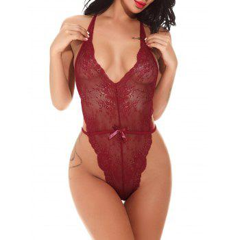 Halter See Through Lace Teddy - Rouge vineux XL