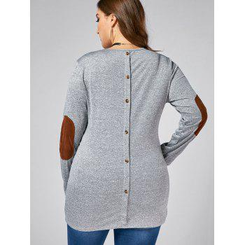 Plus Size Back Button Long Sleeve Elbow Patch T-shirt - GRAY GRAY