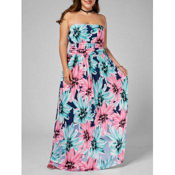 Strapless Floral Plus Size Long Dress