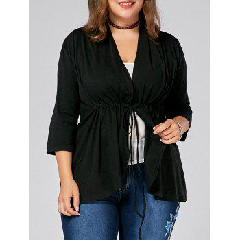 Drawstring Plus Size V Neck Peplum Top - BLACK BLACK