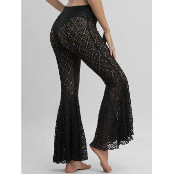 Lace Cover Up Flare Pants - BLACK S