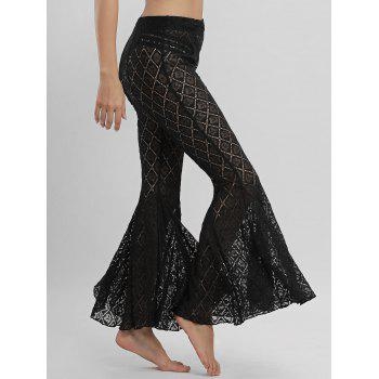Lace Cover Up Flare Pants - BLACK L