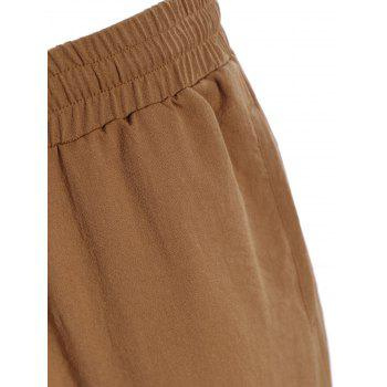 Drawstring Jogger Pants - LIGHT BROWN L