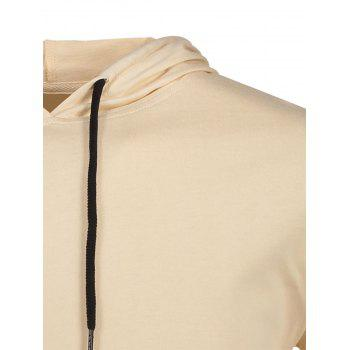 Hooded Drawstring T-shirt - KHAKI M