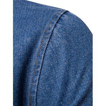 Ribbed Hem Zip Up Denim Jacket - BLUE BLUE