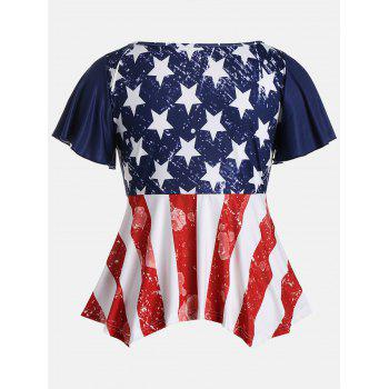 Ruched Plus Size Patriotic Tunic American Flag Top - COLORMIX 2XL
