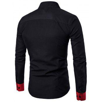 Two Tone Panel Long Sleeve Pocket Shirt - BLACK XL