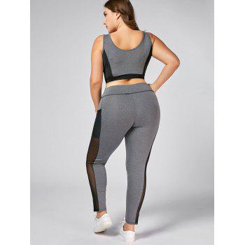 Plus Size Wirefree Bra and Mesh Panel Leggings - GRAY GRAY