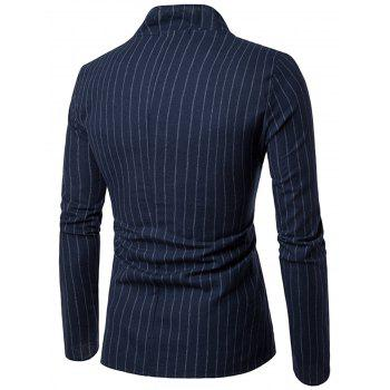 Slim Fit Vertical Stripe Casual Blazer - CADETBLUE 2XL