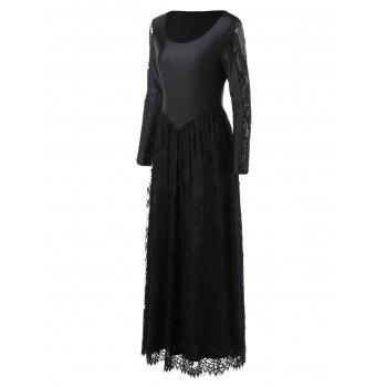 Lace Trim Long Sleeve Maxi Prom Dress - BLACK BLACK