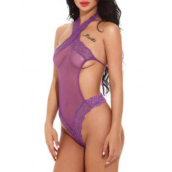 Halter Mesh See Through Micro Teddy - PURPLE PURPLE