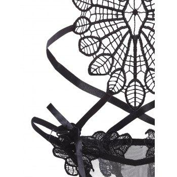 Applique Open Bust Strappy Teddy - BLACK BLACK