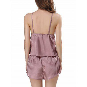 Cami Satin Pajama Set - PALE PINKISH GREY PALE PINKISH GREY