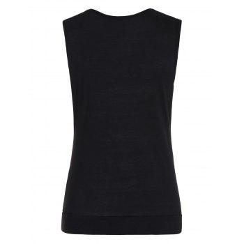 Drape Neck Side Button Tank Top - BLACK L