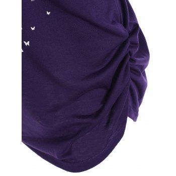 Skull Butterfly Print Skew Neck Plus Size Top - PURPLE 3XL