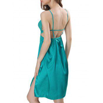 Backless Cut Out Satin Cami Dress - LAKE BLUE LAKE BLUE