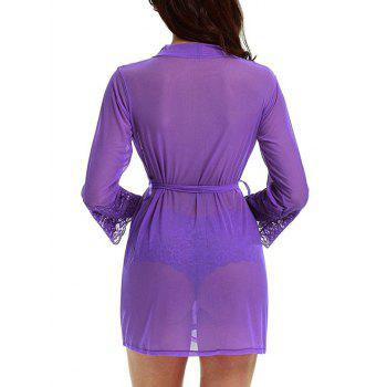 See Through Mesh Kimono Wrap Dress - PURPLE PURPLE