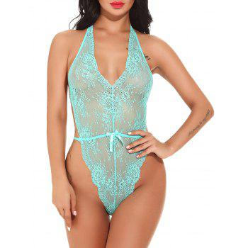 Halter See Through Lace Teddy - GREEN GREEN