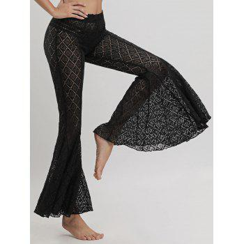 Lace Cover Up Flare Pants - BLACK BLACK