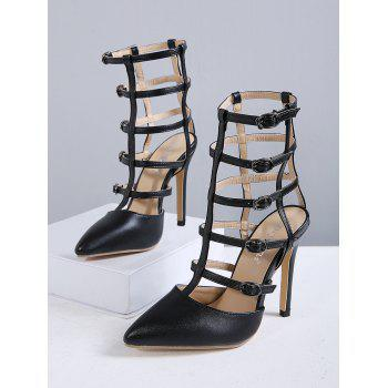 Pointed Toe Buckle Straps Pumps - BLACK BLACK