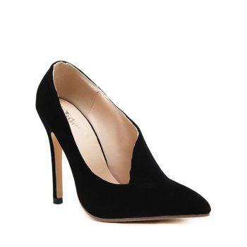 Pointed Toe V Shape Pumps - BLACK BLACK