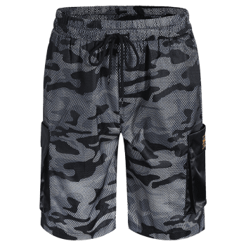 Camo Print Board Cargo Shorts - CAMOUFLAGE GRAY CAMOUFLAGE GRAY