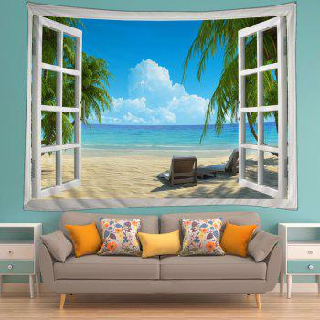 Window Beach View Print Tapestry Wall Hanging Art - LAKE BLUE W79 INCH * L71 INCH