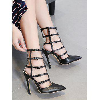 Pointed Toe Buckle Straps Pumps - BLACK 40