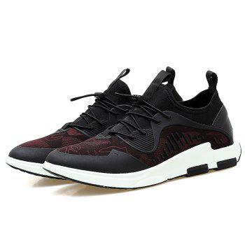 Stretch Fabric String Breathable Casual Shoes - BLACK/RED 42