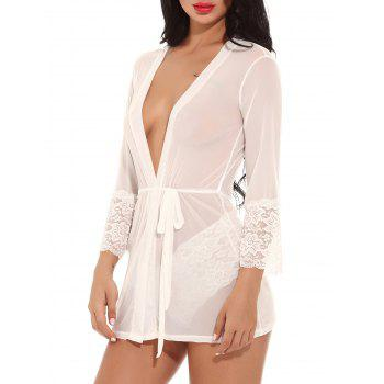 See Through Mesh Kimono Wrap Dress - WHITE XL