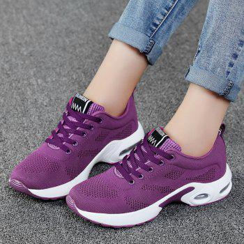 Air Cushion Breathable Mesh Athletic Shoes - PURPLE 37