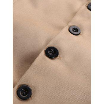 Faux Pocket Single Breasted Plain Waistcoat - KHAKI KHAKI