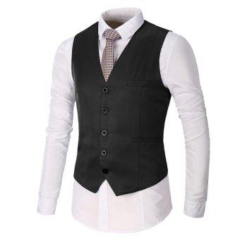 Faux Pocket Single Breasted Plain Waistcoat - BLACK BLACK