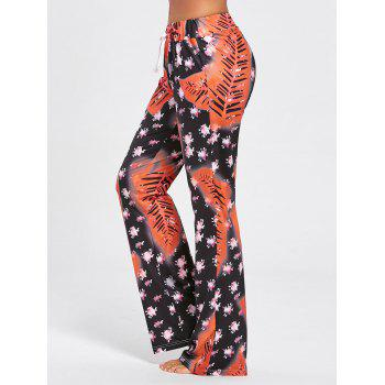 Floral Long Drawstring Waist Sleep Pants - COLORMIX 2XL