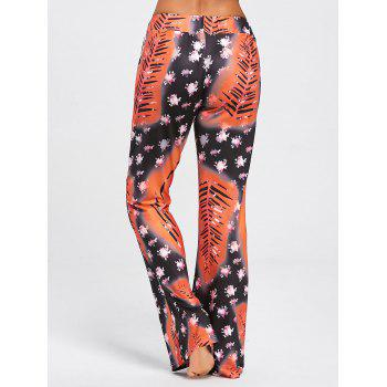 Floral Long Drawstring Waist Sleep Pants - COLORMIX M