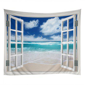 Window Beach Print Tapestry Wall Hanging Art - LAKE BLUE W79 INCH * L59 INCH