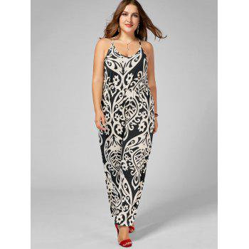High Waisted Printed Plus Size Jumpsuit - multicolor 5XL