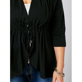 Drawstring Plus Size V Neck Peplum Top - BLACK 3XL