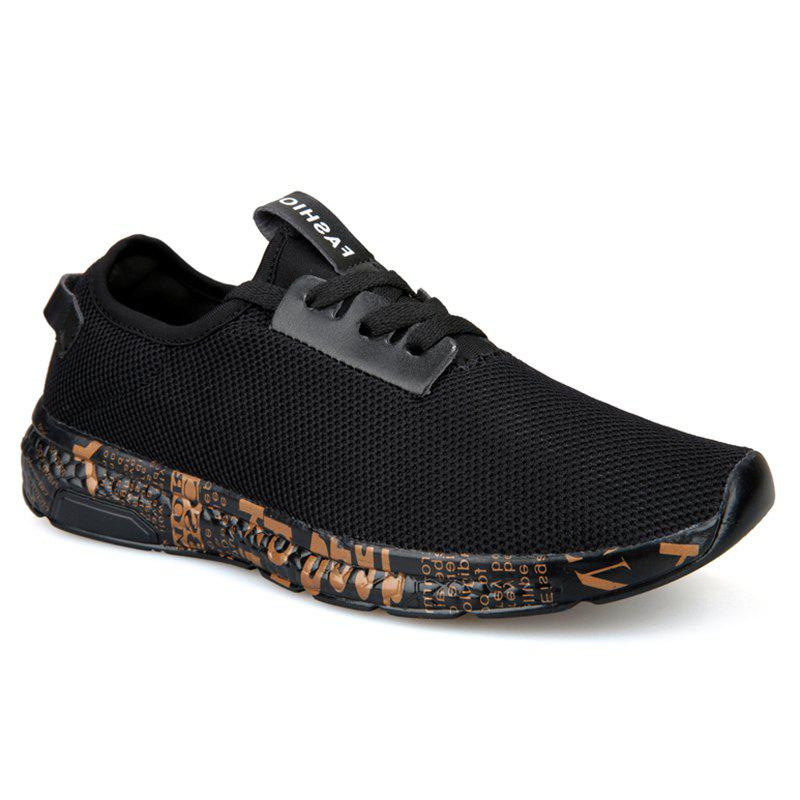 Letter Print Sole Low-top Mesh Athletic Shoes - BLACK GOLD 40