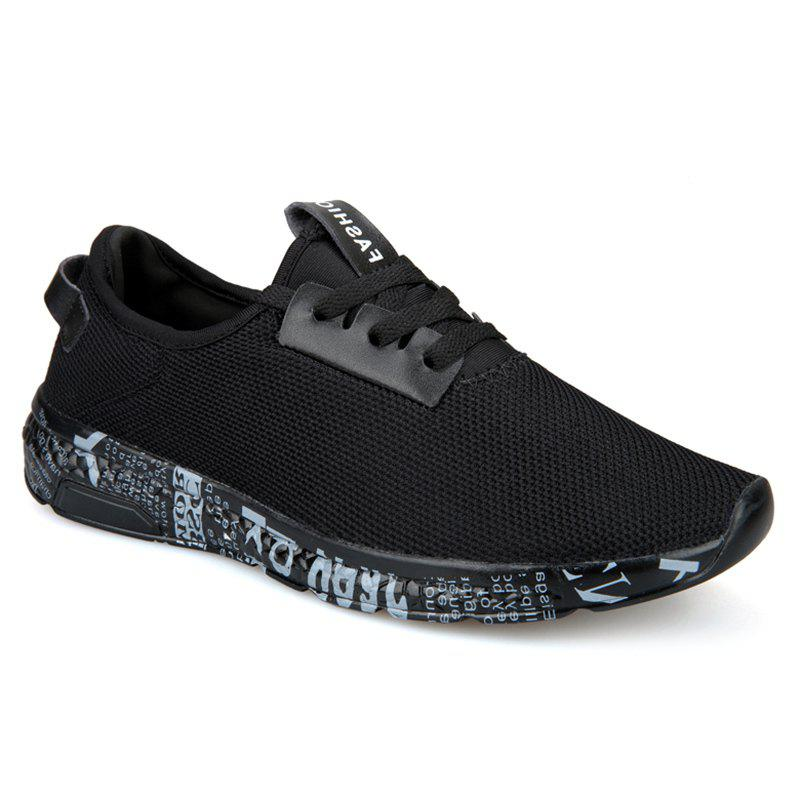 Lettre imprimé Sole Low-top Mesh Athletic Shoes - Gris Noir 42