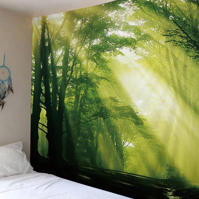 Sunlight Forest Avenue Print Tapestry Wall Hanging Art - GREEN W59 INCH * L51 INCH