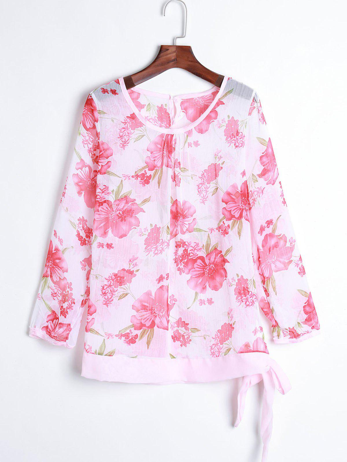 Women's Floral Print Pattern Chiffon Casual Puff Long Sleeve Tops Blouses Shirt - RED ONE SIZE