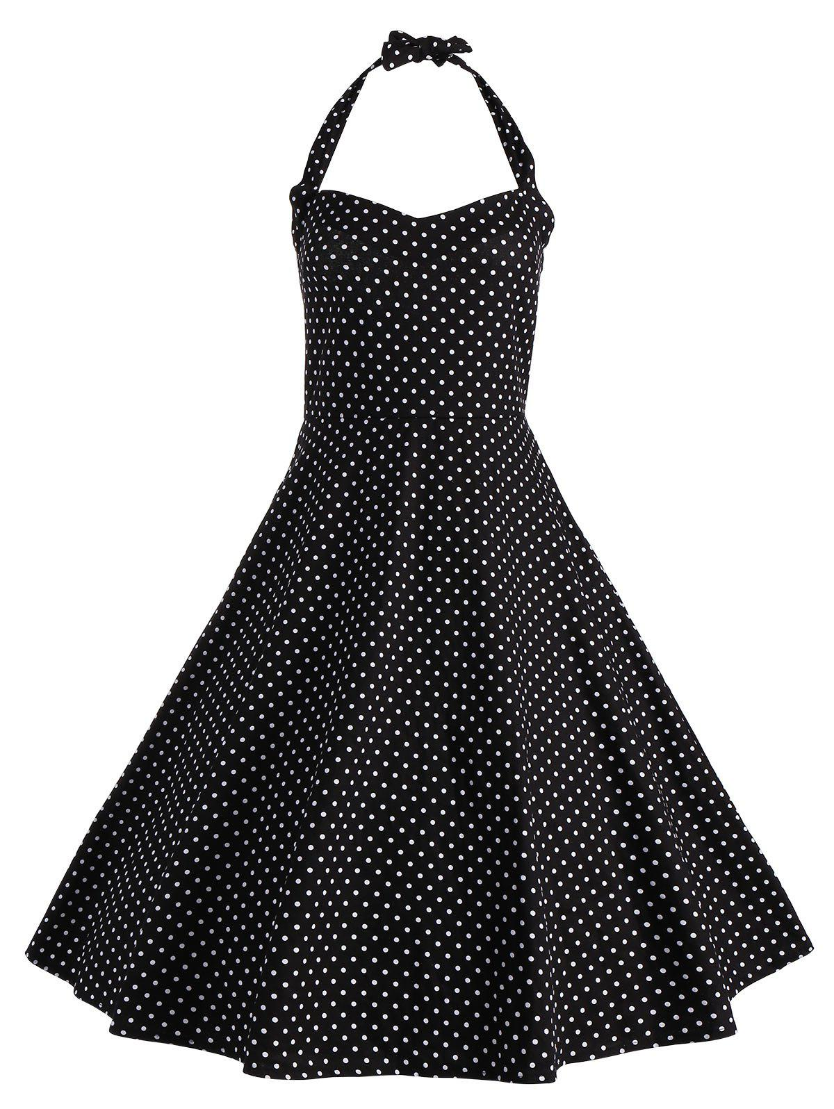 Polka Dot Halter Vintage Plus Size Dress - BLACK 2XL