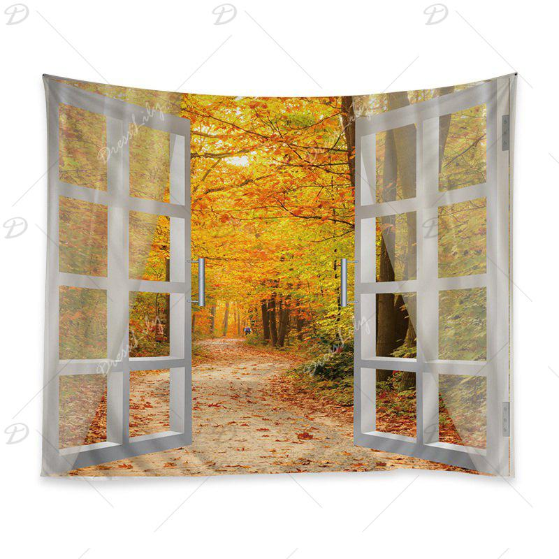 Window Maple Forest Avenue Print Tapestry Wall Hanging Art - CITRUS W59 INCH * L51 INCH
