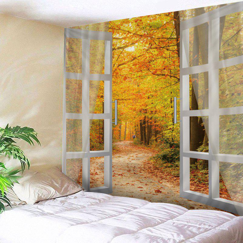 Window Maple Forest Avenue Print Tapestry Wall Hanging Art - CITRUS W59 INCH * L59 INCH