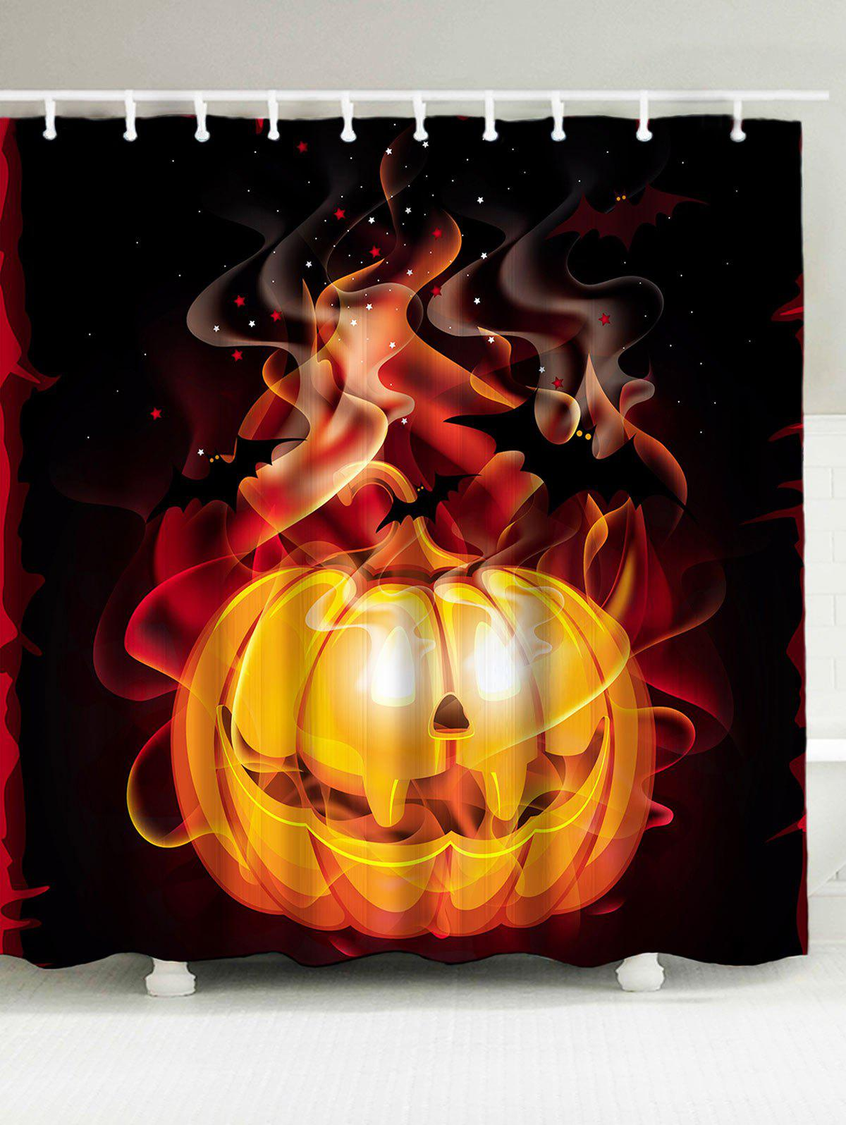 Halloween 3D Burn Pumpkin Print Waterproof Shower Curtain 3d shiny pumpkin print halloween waterproof shower curtain