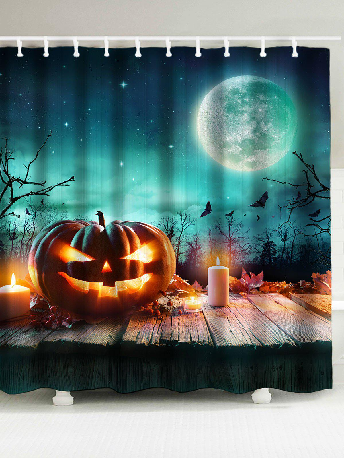 Waterproof 3D Shiny Pumpkin Print Halloween Shower Curtain 3d shiny pumpkin print halloween waterproof shower curtain