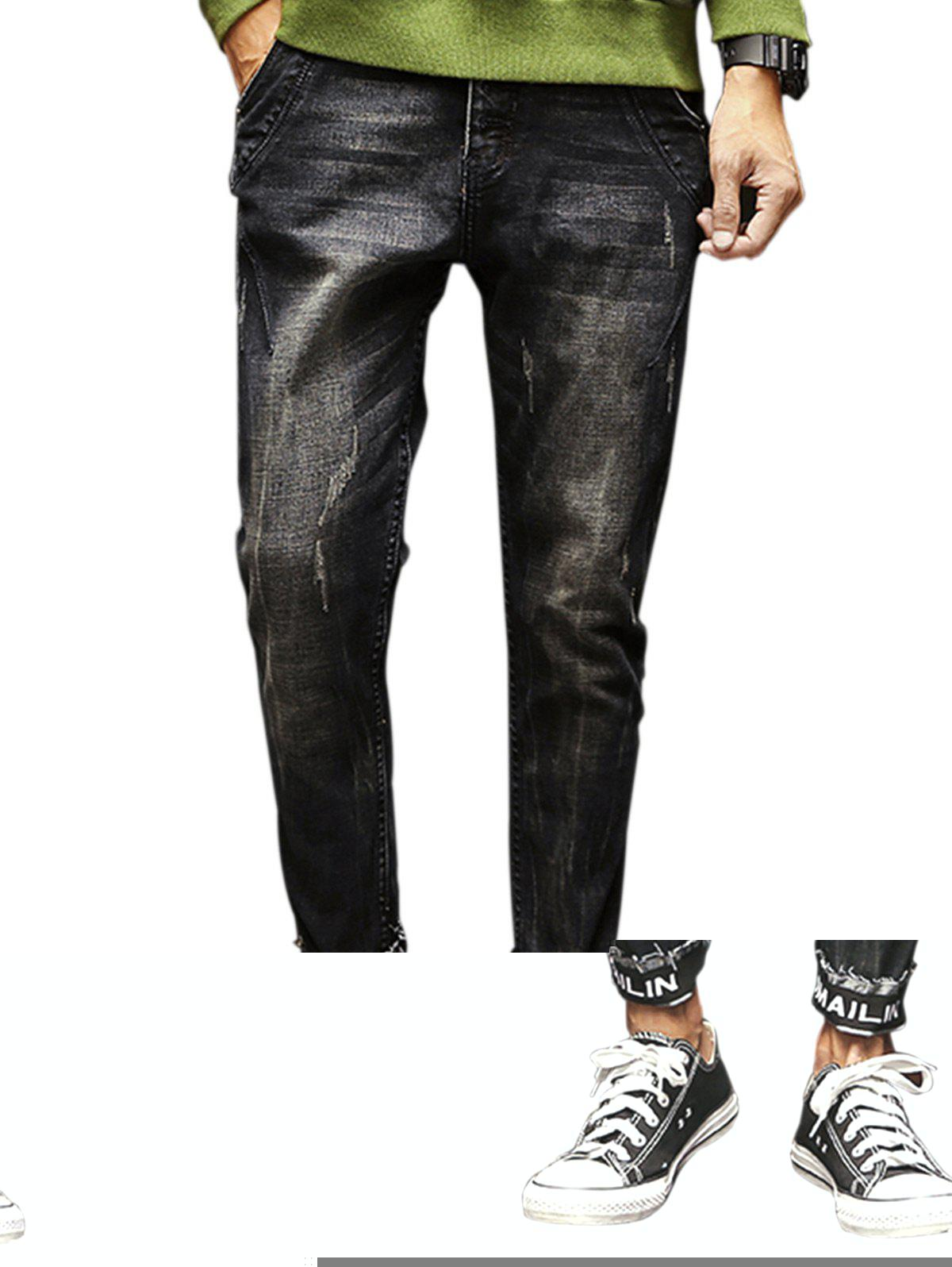 Zipper Fly Graphic Print Elastic Beem Feet Ripped Jeans купить